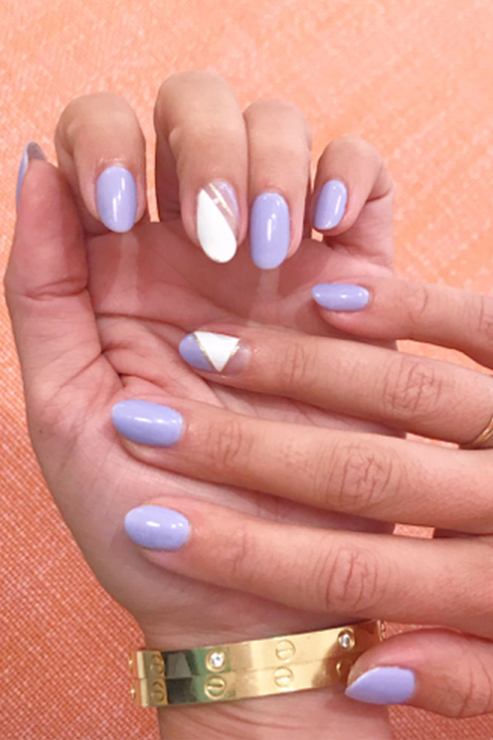 Lavender and White in an Almond Nail Design-vvpretty