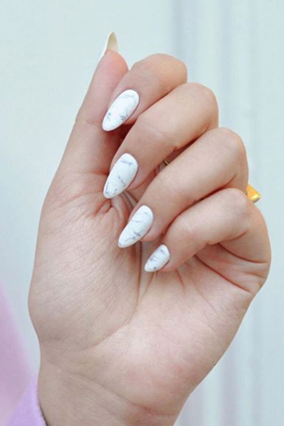 White Marble Design in Almond Nail Shape-vvpretty