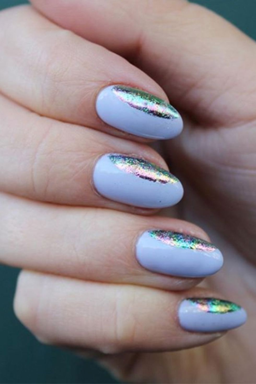 Holographic Foil Almond shaped Nails-vvpretty