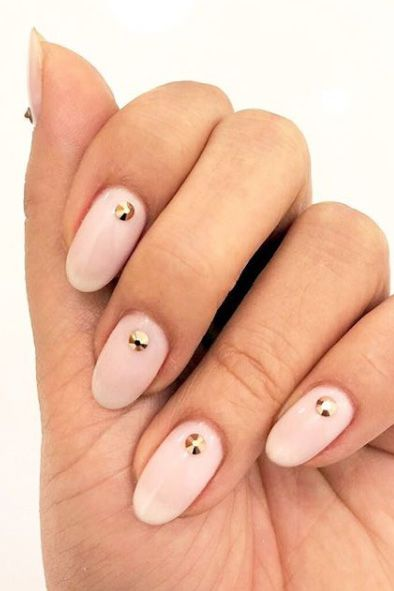 Pink-Gold Almond shaped nails