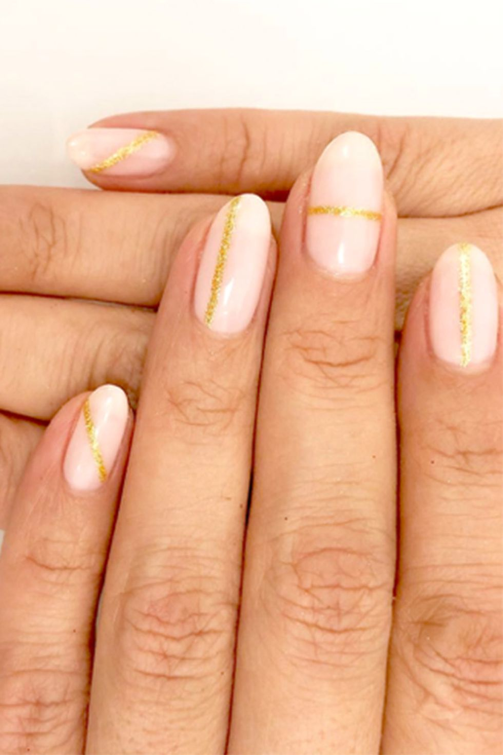 Pink with Gold Glitter Strips-Almond shaped-vvpretty